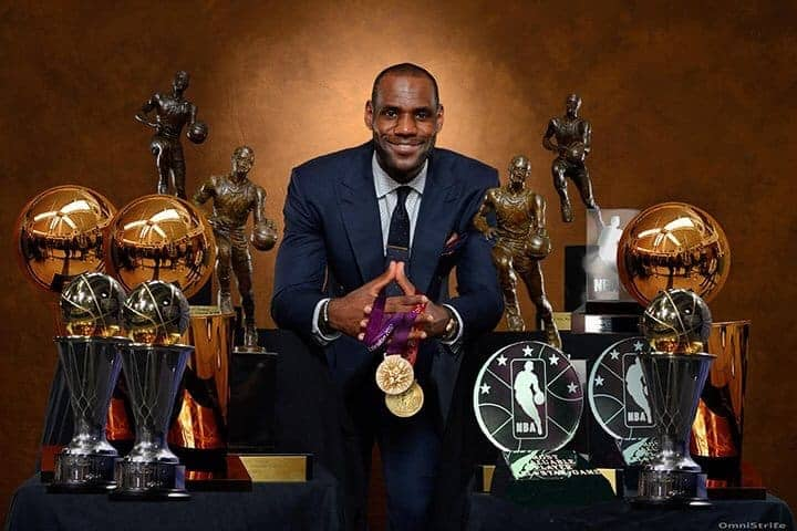 Lebron James With Trophies