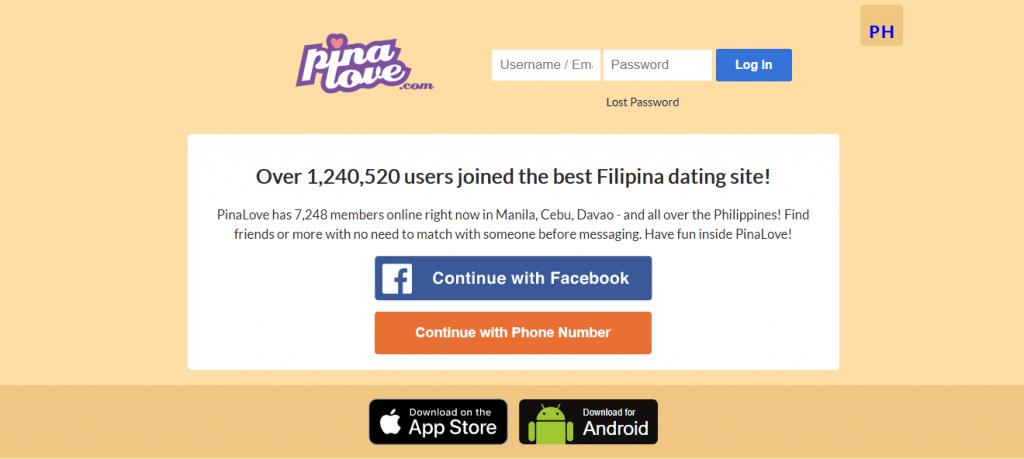 Pinalove Filipina Dating Homepage